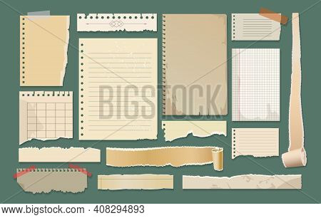 Old Paper Scrapbook Elements. Scrapbooking Retro Papers With Stamps, Labels And Scraps Vector Illust