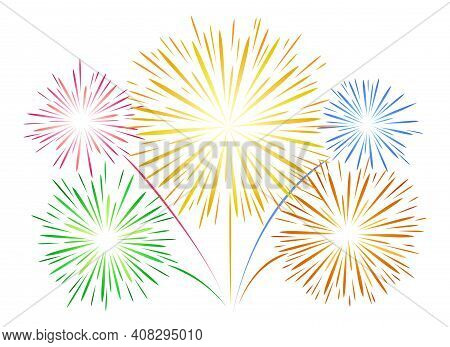 Simple Fireworks On White. Flat Lines Vector Firework, New Year Linear Festival Salut For Shining Ce