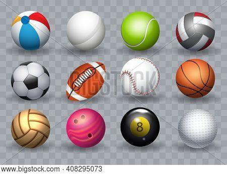 Realistic Sports Balls. Sport Ball Group Equipment Vector Illustration, Tennis And Golf, Baseball An