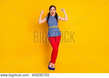 Full Length Body Size View Of Her She Nice Attractive Pretty Glad Cheerful Cheery Fashionable Girl C
