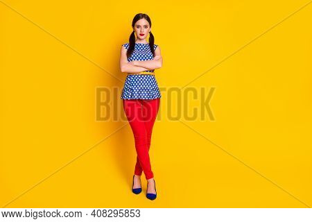Full Length Body Size View Of Her She Nice-looking Attractive Pretty Lovely Glamorous Content Girl F