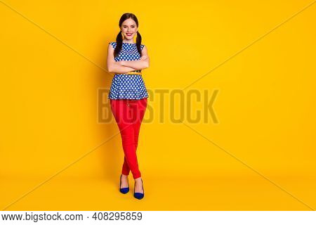 Full Length Body Size View Of Her She Nice-looking Attractive Lovely Glamorous Trendy Cheerful Brown
