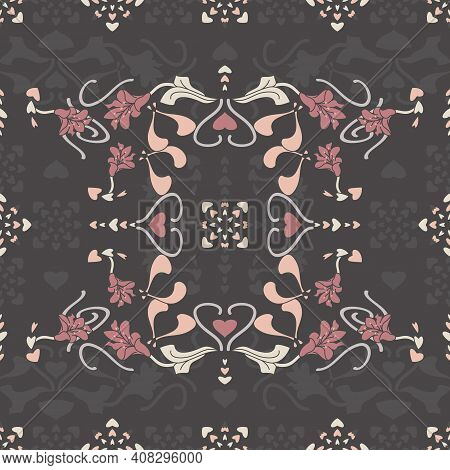 Seamless pattern floral with lily flowers and hearts. Dark gray, pink, cream ivory and pastel orange. Vector.