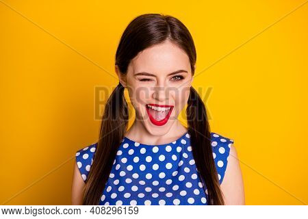 Portrait Of Energetic Charming Girl Enjoy Rest Relax Weekend Wink Blink Isolated Over Vivid Color Ba