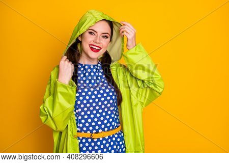 Portrait Of Her She Nice Attractive Pretty Lovely Glamorous Cheerful Cheery Girl Wearing Hood Cape F
