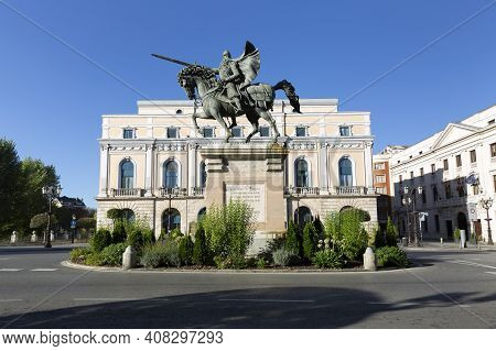 Bronze Equestrian Statue And Monument To The Cid Campeador In The City Of Burgos. Spain.