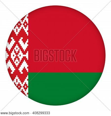 Flag Of Belarus Round Icon, Badge Or Button. Belarusian National Symbol. Template Design, Vector Ill