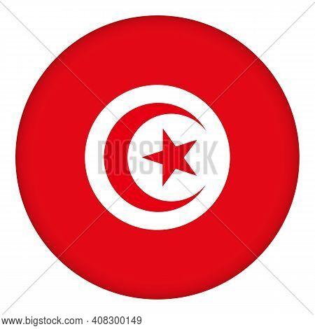 Flag Of Tunisia Round Icon, Badge Or Button. Tunisian National Symbol. Template Design, Vector Illus