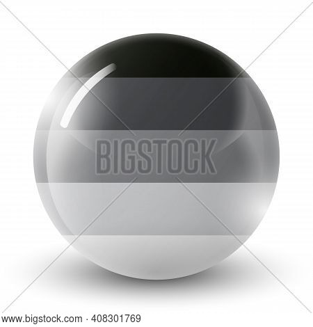 Glass Light Ball With Flag Of Heterosexual. Round Sphere, Template Icon. Glossy Realistic Ball, 3d A
