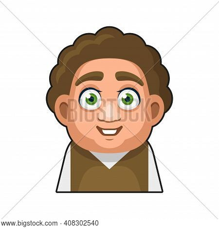Cute Overweight Boy Avatar Character. Young Man Cartoon Style Userpic Icon