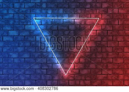 Neon Triangle In The Center.red And Blue Neon Light Frame Triangle In The Center On Brick Wall Backg