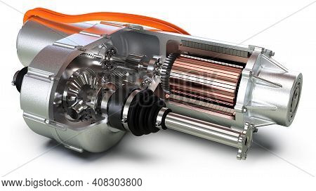 Electric Motor Car Engine Cross Section Closeup View, 3d Rendering