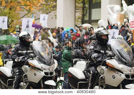 Portland Police On Motorcycle During N17 Protest