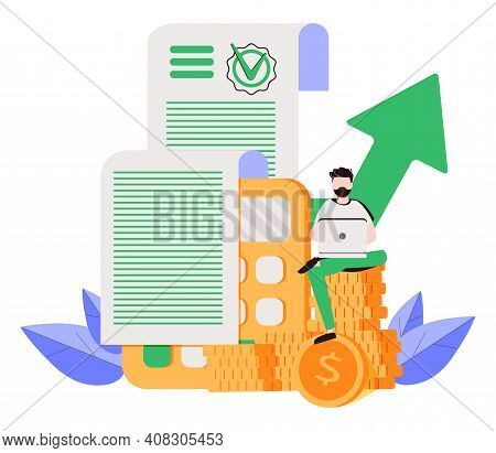 Vector Illustration Of A Man Looking  At A Long Bill Or Sales Check. Online Accountant Service For B