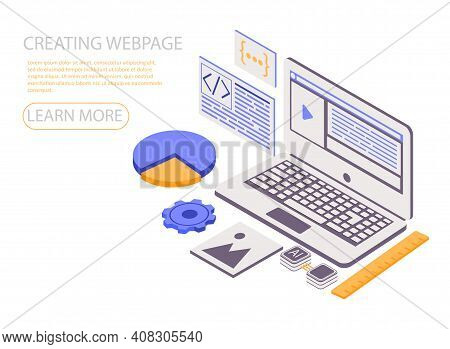 Landing Page Template With Programmer Or Coder Creating Webpage On Giant Laptop Computer. Concept Of