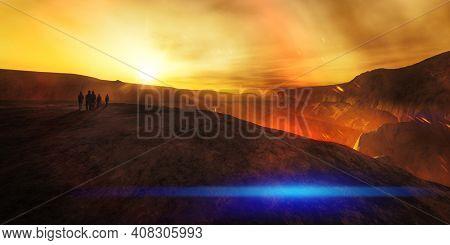 An explorer team at a volcano. 3D illustration