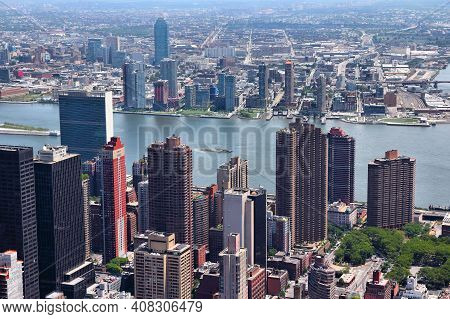 New York City - Midtown Manhattan Aerial View Towards Tudor City, Murray Hill And East River. On The