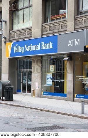 New York, Usa - July 4, 2013: Valley National Bank Branch In New York. Valley Has Over 230 Branches,