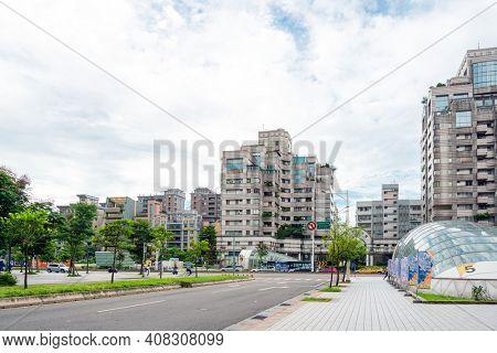 TAIPEI, TAIWAN - July 2, 2019: Street view of Modern architecture in Taipei, Taiwan