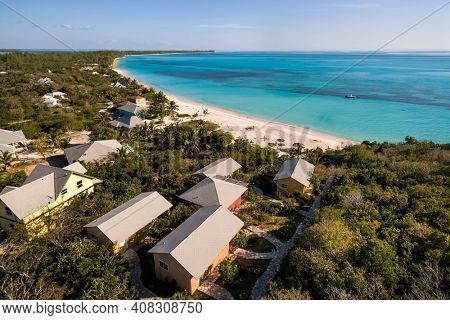 Aerial view above the Shannas Cove cottages and beach in Orange Creek, Cat Island, Bahamas