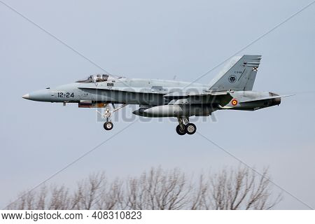 Leeuwarden, Netherlands - April 14, 2015: Spanish Air Force Mcdonnell Douglas Ef-18a Hornet C15-66 F