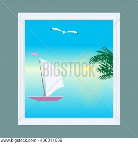 Window Overlooking The Sea, Palm Tree, Sailboat - Vector.