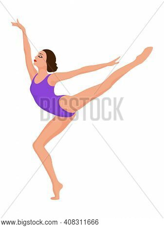 Elegant Ballerina In Violet Leotard, Hand Drawing Vector, Isolated On The White Background