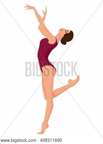 Charming Ballerina In Magenta Leotard, Hand Drawing Vector, Isolated On The White Background