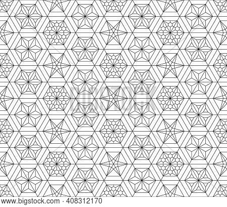 Japanese Seamless Kumiko Pattern In Black With Fine Lines.a Combination Of Four Types Of Ornaments.