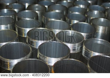 Steel Pipes With Thread In The Production Warehouse. Selective Focus
