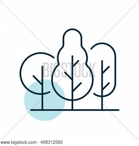 Deciduous Forest Vector Icon. Nature Sign. Graph Symbol For Travel And Tourism Web Site And Apps Des