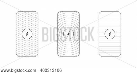 Wireless Chargers Icons. Wireless Charger Place. Trendy Flat Wireless Charging. Vector Illustration