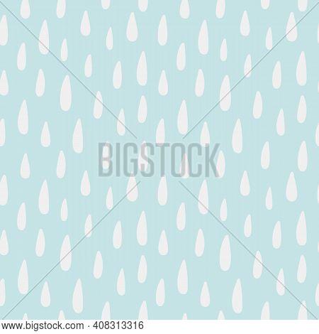 Raindrops Hand Drawn Seamless Pattern. Children Room Decor In Pastel Color. Kids Nursery. Rainbow Ra
