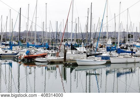 Sailboats Moored At Berkeley Marina. Berkeley, Alameda County, California, Usa.