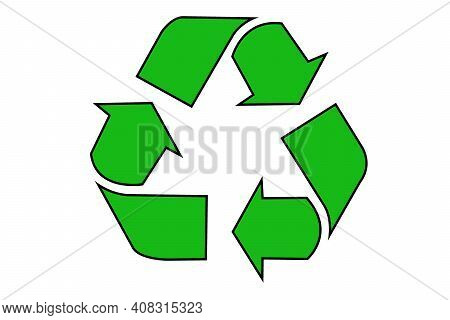 Isolated Green Recycle Sign. Png File With Transparent Background.