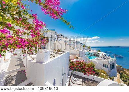 Summer Vacation Panorama, Luxury Famous Europe Destination. White Architecture In Santorini, Greece.