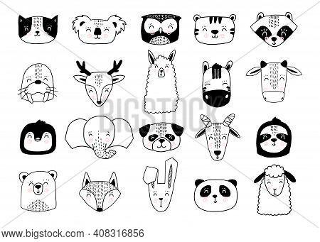Scandinavian Animals. Nordic Cute Animal Set. Vector Hand Drawn Panda, Funny Deer Fox Llama Faces