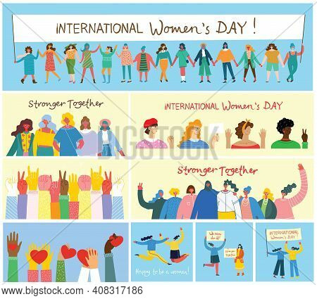International Women's Day.diverse International And Interracial Group Of Standing Women. For Girls P