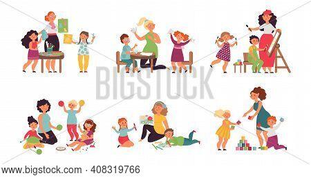 Preschool Kids Teacher. Child Playing, Kindergarten Preschool Characters With Adult Woman. Art Thera