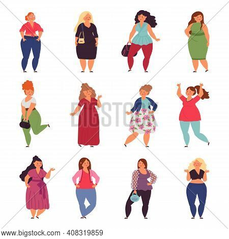 Plump Woman. Plus Size Young People, Fashion Clothes For Overweight Big Girls. Isolated Beautiful La