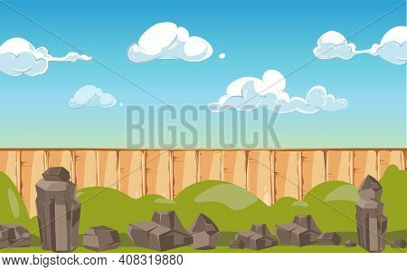 Cartoon Landscape Banner. Country Or Village Background, Stones Wooden Fence And Blue Cloudy Sky Vec