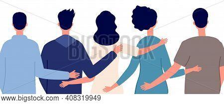 Teamwork Help. Diverse People Community, Friends Hugging Hand Together Back View. Friendship Or Fami