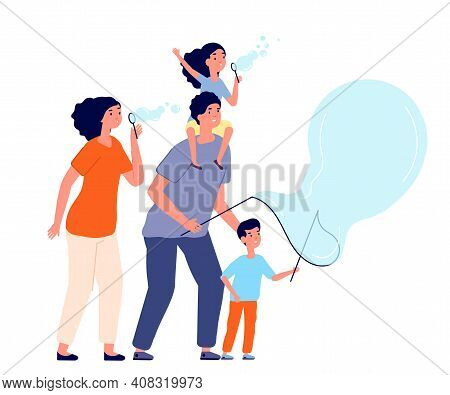 Family And Bubbles. Soap Bubble Blowing, Happy Parents And Child Outdoor Game. People Play Together,