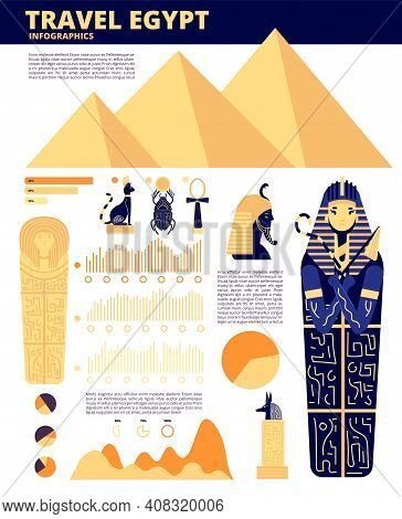 Egypt Travel. Ancient History Elements, Egyptian Infographics. Travelling Site Concept, Pyramid Land