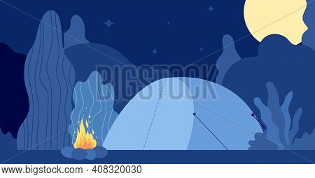 Night Campfire. Flat Forest Camp, Wild Seasonal Nature Adventures. Tent And Fire, Summer Wood Campin