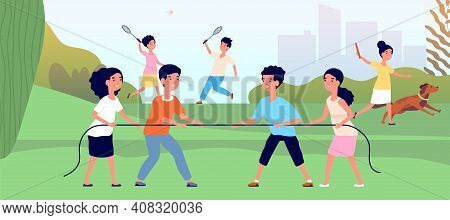 Kids Tug Of War. Outdoor Child Games, Cartoon Kid Competition. Girl Boy Pull Rope, Play Badminton Or