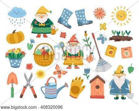 Spring Gardening Collection. Doodle Flower, Funny Cute Plant, Birdhouse. Isolated Farm Tools, Decora