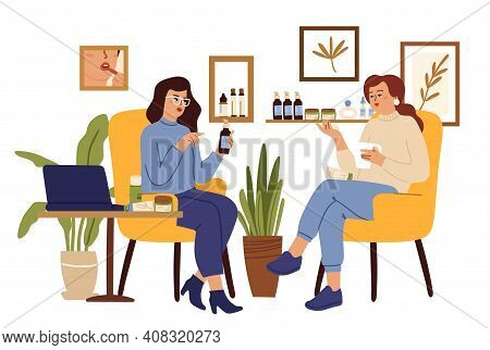 Cosmetology. Girl Consulting Beauty Center. Organic Cosmetics Shop, Healthy Skin Care. Woman Consult