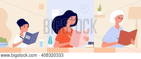 Female Diary. Women Write Journal. Modern Girl Woman And Old Lady Writing Memories. Different Age St