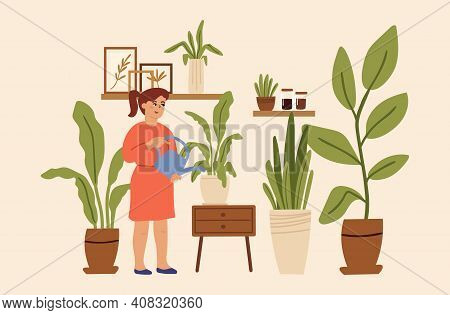 Gardening Hobby. Girl At Home Greenhouse, Little Toddler Care About Plants In Pot. Little Character